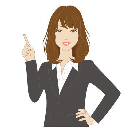 pointing finger up: Smiling woman in business suit pointing up with her index finger