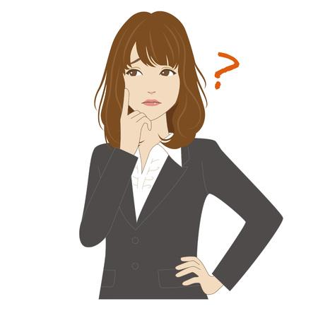 Een jonge vrouw in het bedrijfsleven sui denken