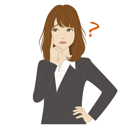 A young woman in business sui thinking