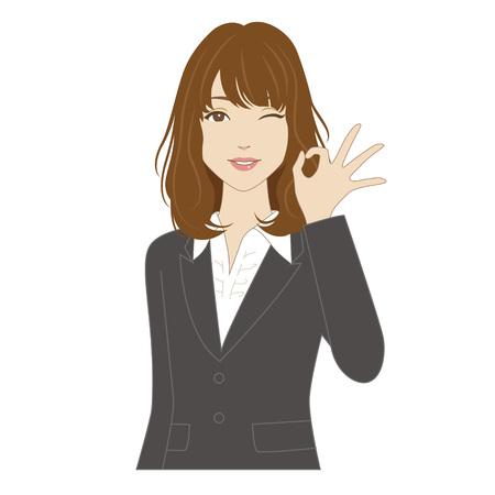 Knipogen jonge vrouw in pak poseren met okeyteken Stock Illustratie