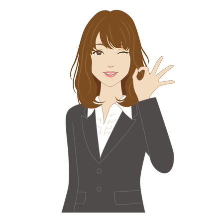 Winking young woman in business suit posing with okey sign Vettoriali