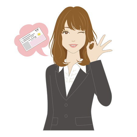 waist up: A smiling young woman in business suit signing OK Illustration