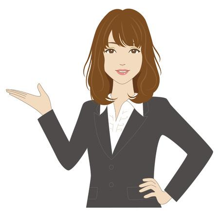 mujer bonita: Una mujer sonriente en traje de negocios poniendo su palma hacia arriba