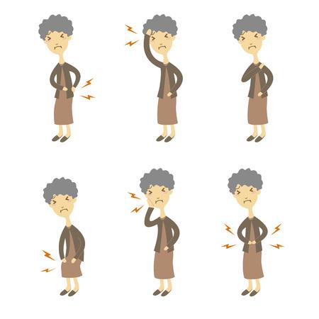 s�ntomas: Los s�ntomas y signos de la enfermedad, mujer de edad avanzada Vectores
