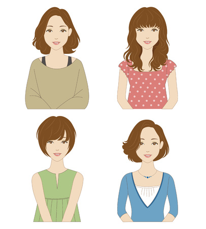 Young women with different hairstyles and clothes