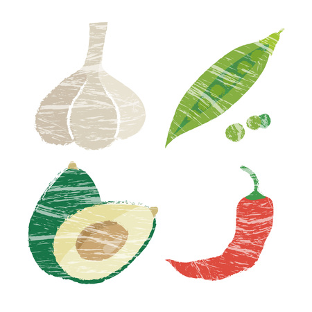 red pepper: Snow peas and red pepper, avocado, garlic and vegetable illustration Illustration