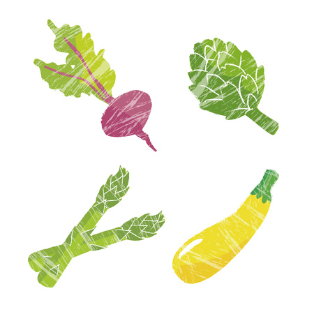dietary fiber: Vegetable illustration, beets, artichoke, asparagus and zucchini