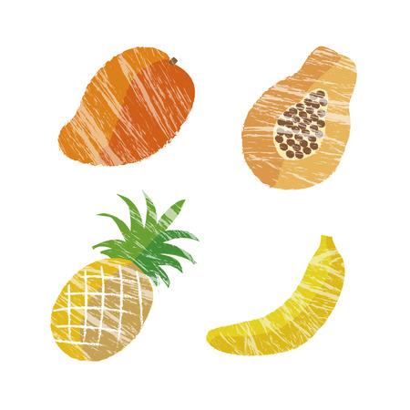 flesh: Illustration of tropical fruits, mango, papaya, pineapple and banana