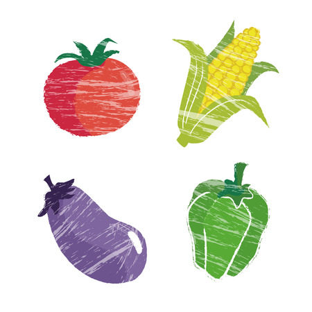 dietary fiber: Vegetable illustration, tomato, corn, eggplant and bell pepper