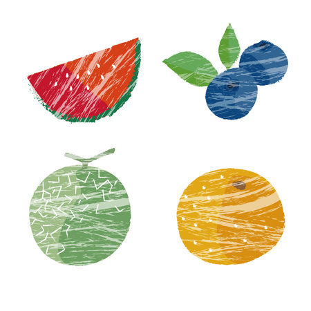 water melon: Summer fruits illustration, water melon, melon, blueberry and orange Illustration