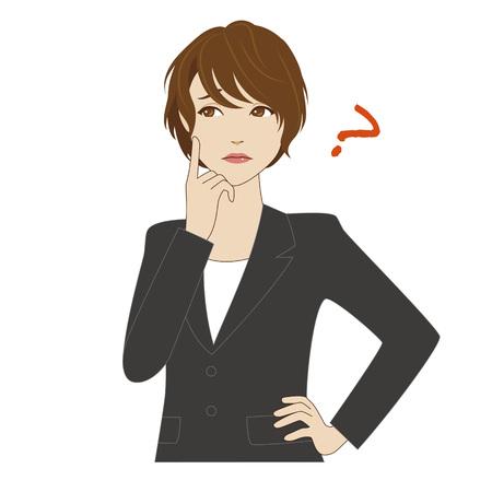 Een jonge vrouw in het bedrijfsleven pak denken