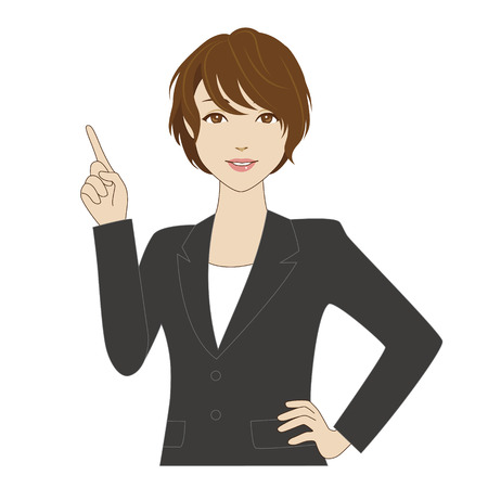 Smiling woman in business suit pointing up with her index finger