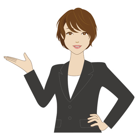 A smiling woman in business suit putting her palm up