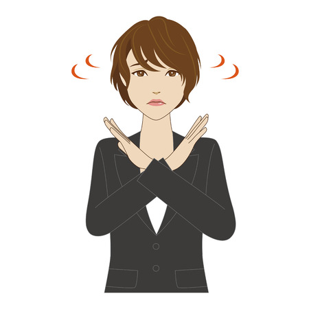 woman arms up: A young woman crossing her arms saying NO Illustration