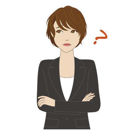 woman arms up: A thinking young woman in business suite crossing her arms Illustration