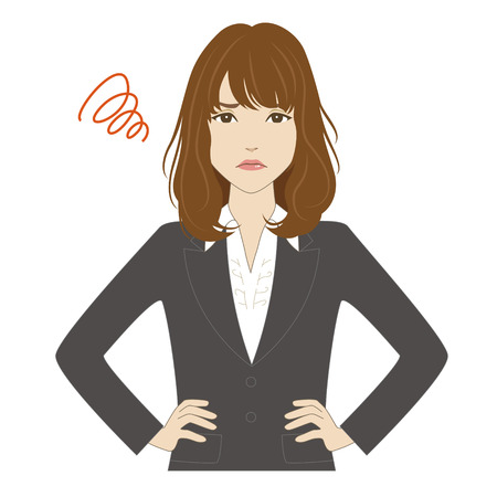 unhappy worker: Angry young woman in business suit putting her hands on hip