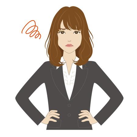 Zornige junge Frau in Business-Anzug mit ihren Händen auf der Hüfte setzen Standard-Bild - 48033507