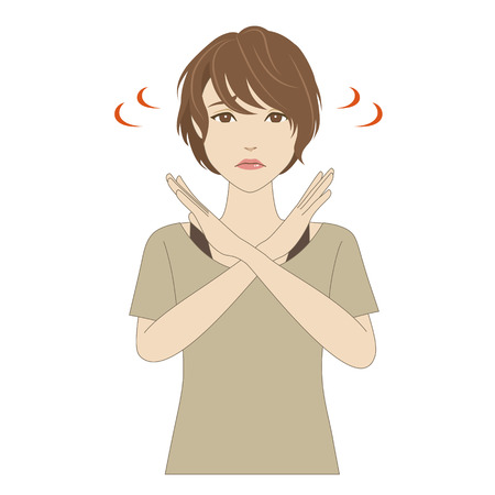 tanktop: Troubled young woman crossing her arms Illustration