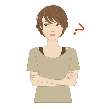 light brown hair: Thinking young woman wearing a layers of clothing Illustration