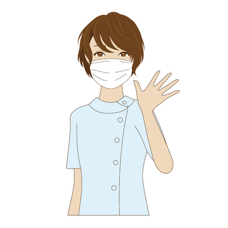 surgical mask: A smiling female dental assistant with surgical mask in uniform waving her hand