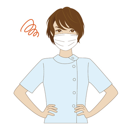 surgical mask: An angry female young nurse with surgical mask in light blue uniform Illustration