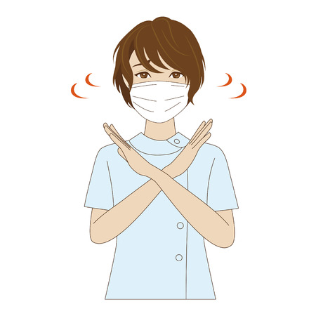 dental assistant: A young female dental assistant with surgical mask shaking her head saying NO