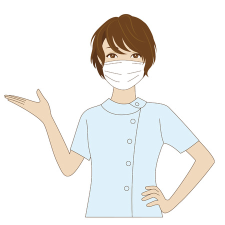 hair mask: A smiling female dental assistant with surgical mask putting her palm up