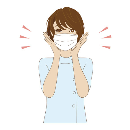 surgical mask: A surprised female dental assistant with surgical mask in light blue uniform