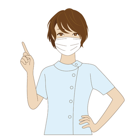 surgical: A smiling female dental assistant with surgical mask waving her hand