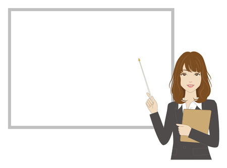 eye brow: A female office worker holding a pointer in front of a whiteboard