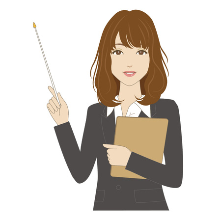 office worker: A female office worker holding a pointer Illustration