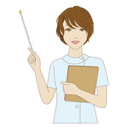 dental assistant: A smiling female dental assistant holding a pointer