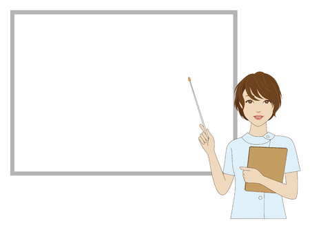 assistant: A female dental assistant holding a pointer in front of a whiteboard
