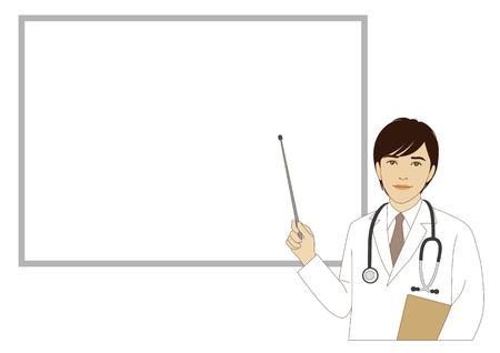 A smiling doctor holding a pointer stick in front of a whiteboard