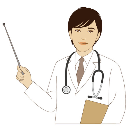 pediatrics: A smiling male doctor holding a pointer stick