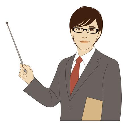 A smiling businessman holding a pointer stick