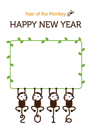 new year photo frame: New Year card with Monkey for year 2016