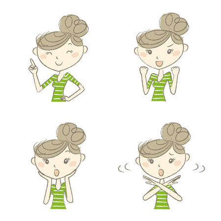woman fist: Young women with various expression and poses