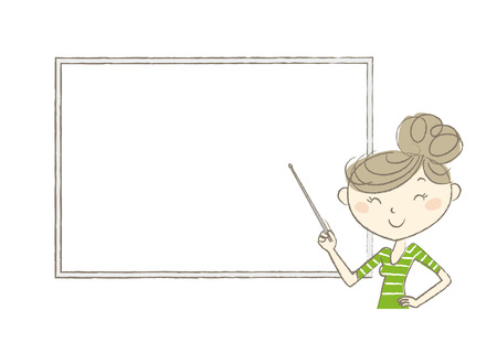 eye brow: A young woman holding a pointer in front of a whiteboard