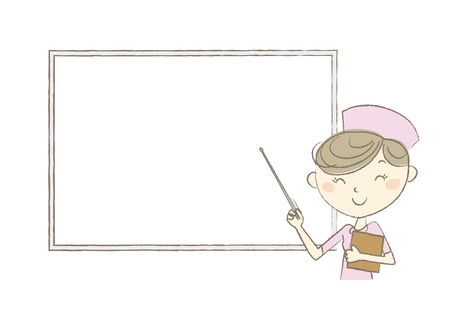eye brow: Smiling Nurse holding a pointer in front of a whiteboard