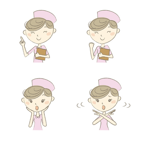 eye brow: Young nurse with various expression and poses