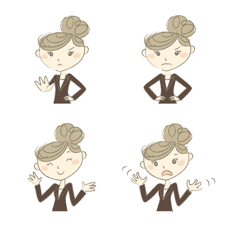 wait sign: A working woman wearing business suite with various poses