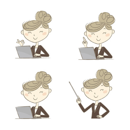 white person: A working woman with various poses in front of a laptop computer