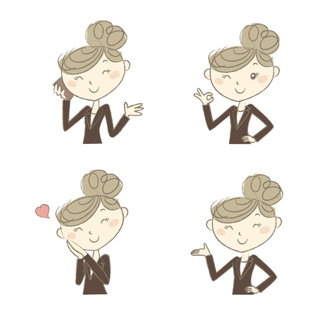 suite: A working woman wearing business suite with various poses