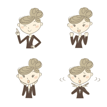 woman fist: A working woman wearing business suite with various poses
