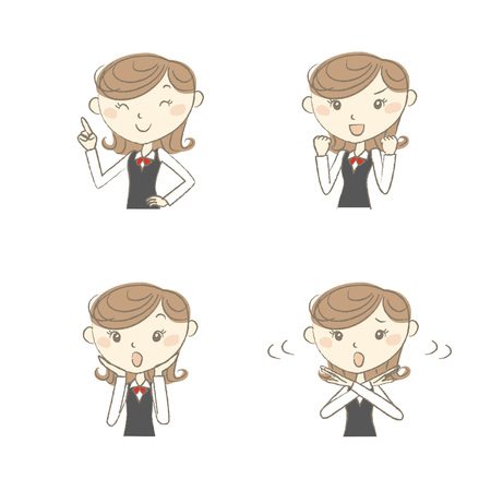 Female clerk wearing uniform with various poses Illustration