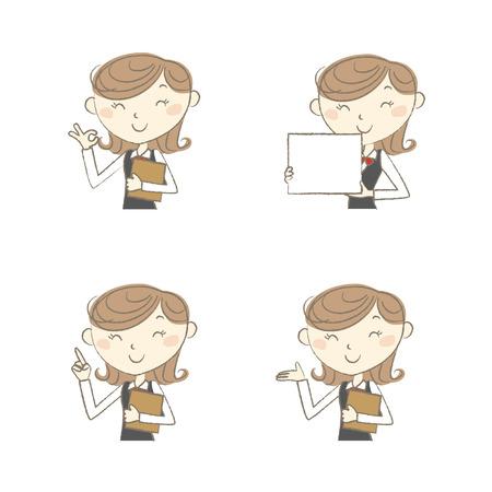 clerk: Female clerk wearing uniform with various poses Illustration