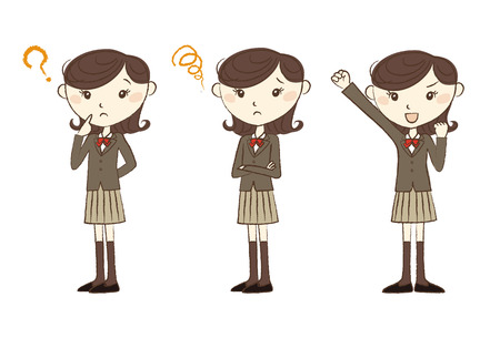 knee sock: High school student in school uniform with various poses and expression Illustration