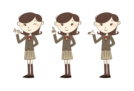 high school girl: High school student in school uniform with various poses and expression Illustration