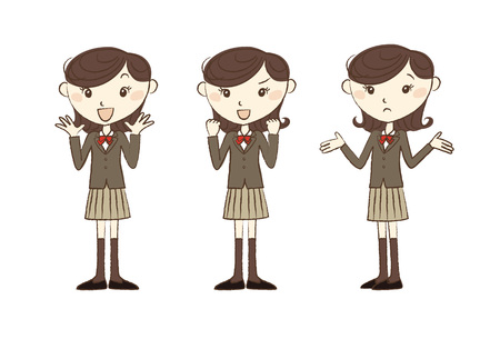 woman smiling: High school student in school uniform with various poses and expression Illustration